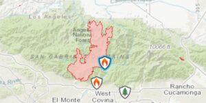 Map showing Bobcat fire Sept 18 2020